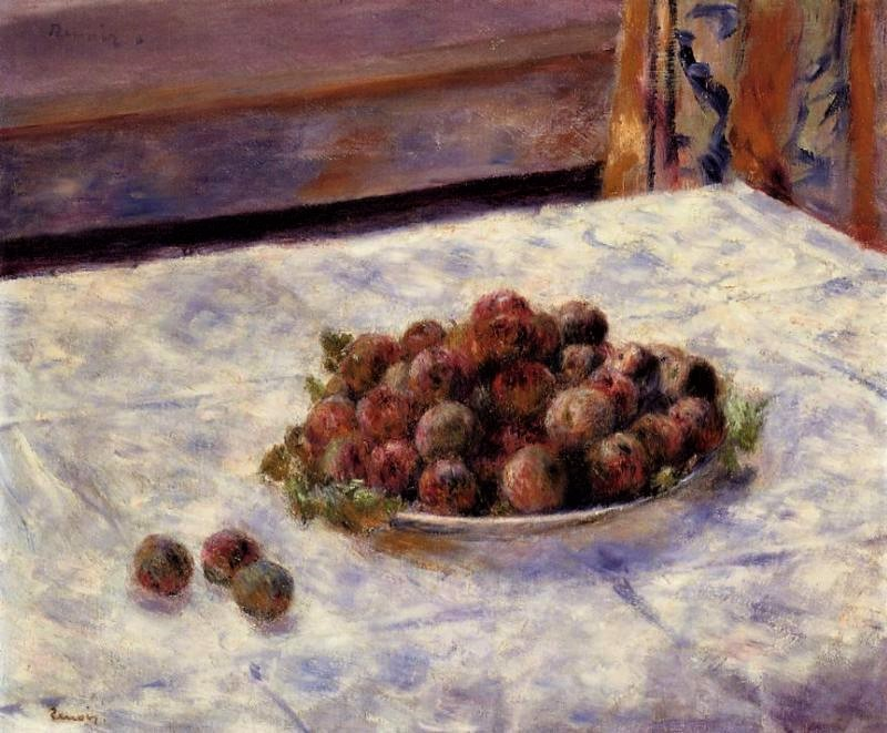 Renoir, 7IE-1882-144, assiette de prunes. =1882-84, Still life a plate of plums, 56x46, private (iR52;R90II,p230)