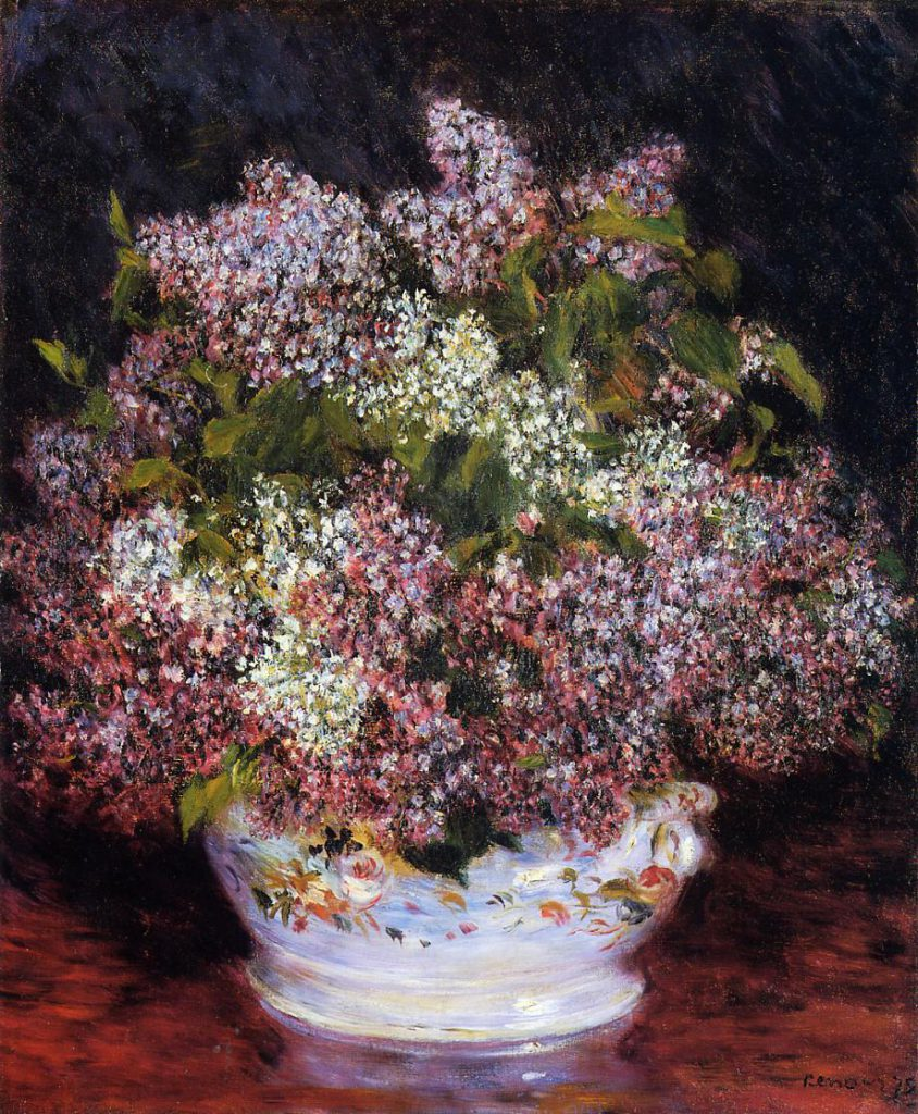 Renoir, 7IE-1882-145, Lilas Maybe: 1878ca, Bouquet of Flowers, 65x54, private NY (iRx;R90II,p230;R30,no326)