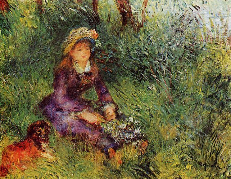 Renoir, 7IE-1882-153, Femme assisse sur l'herbe. =1880, CR355, Madame Renoir with a Dog, 32x41, private Paris (iRx;R90II,p231)