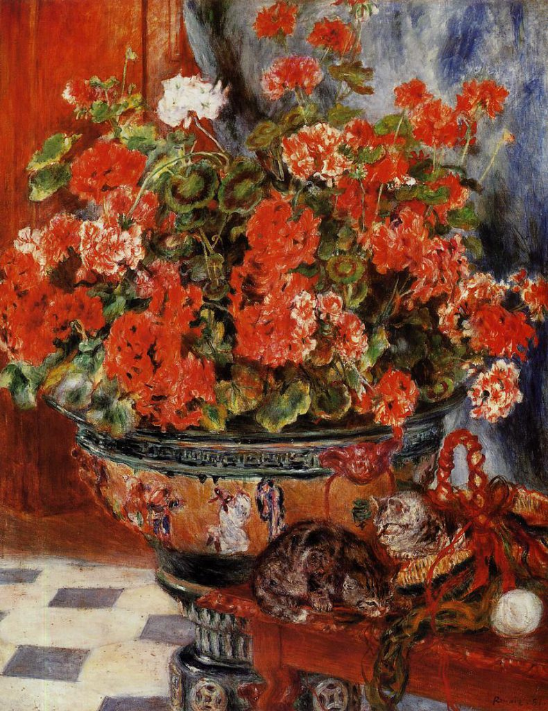 Renoir, 7IE-1882-156 Géraniums Option: 1881, Geraniums and Cats, 91x73, NY private (iRx;R90II,p211;R31,no59;cpR30,no447)