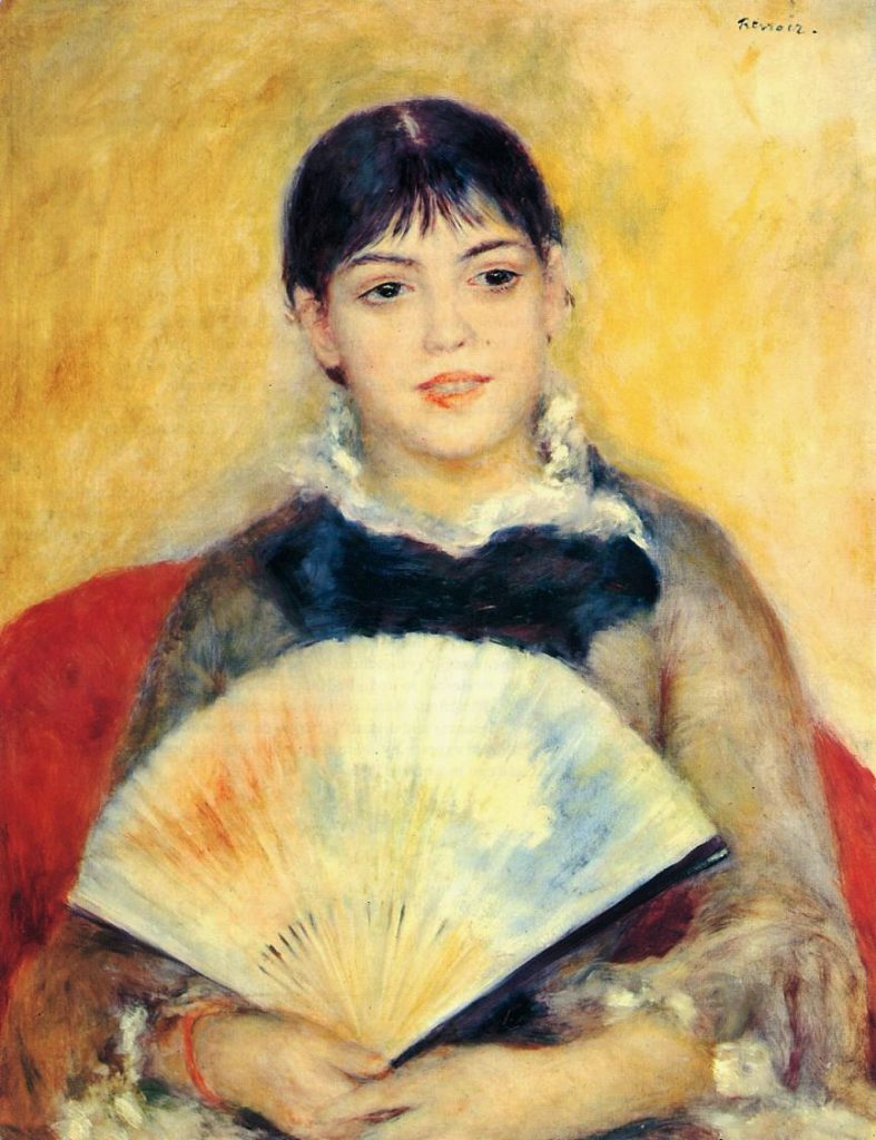 Renoir, 7IE-1882-160, Femme à l'éventail. Now: 1880ca, CR332, Woman with a Fan, 65x50, Hermitage (iR2;iR59;R2,p376;R90II,p232;R15,p207)