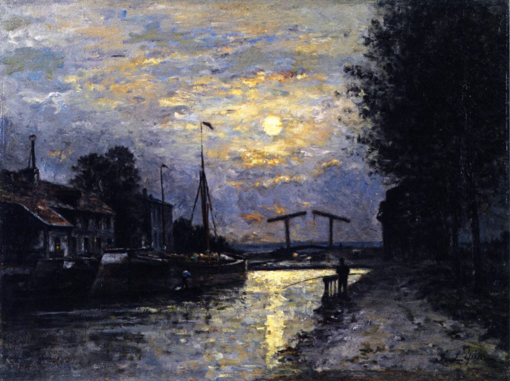Lépine, 1876-79ca, Canal in Saint-Denis, Effect of Moonlight, 34x46, private