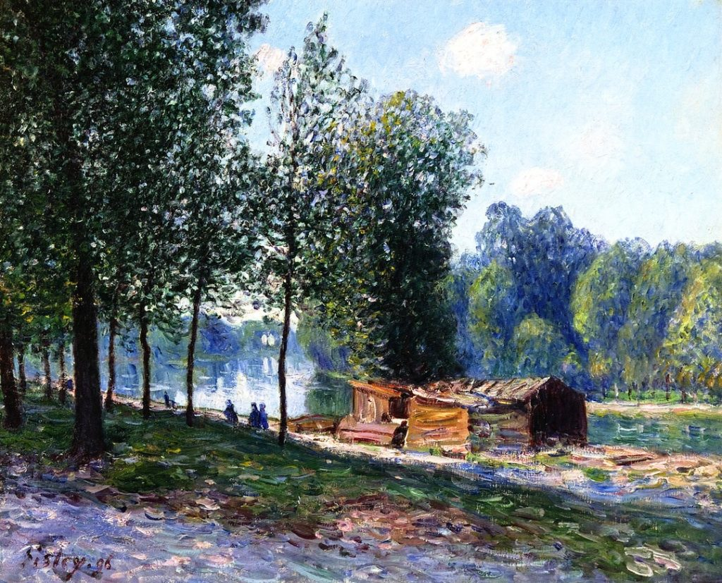 Alfred Sisley, 1896, CR857, Cabins by the River Loing, Morning, 60x73, private
