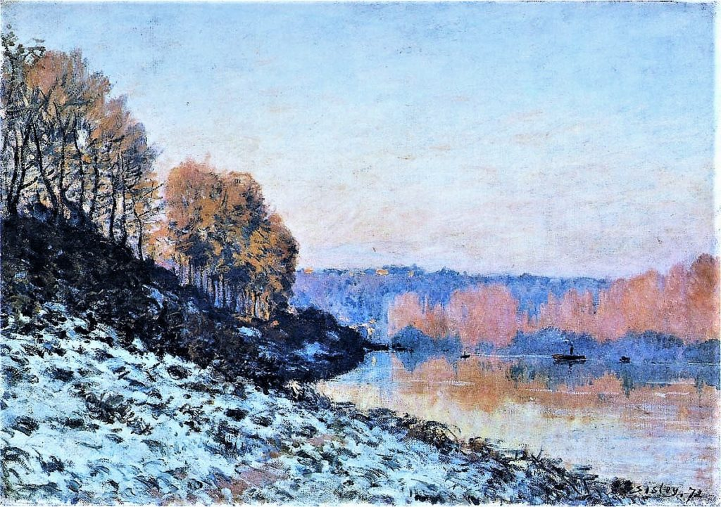 Alfred Sisley, 1IE-1874-165, Port-Marly, soirée d'hiver Maybe(?): 1872, CR45, The Seine at Bougival in Winter (Gelée Blanche, Port-Marly), 47x66, PBA Lille