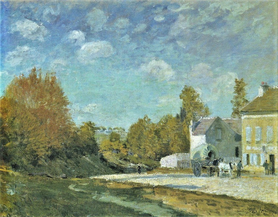 Alfred Sisley, 3IE-1877-223, L'Auberge du Lion-d'Or. Maybe(?): 1876, Inn on Main Street, Marly, 50x65, private