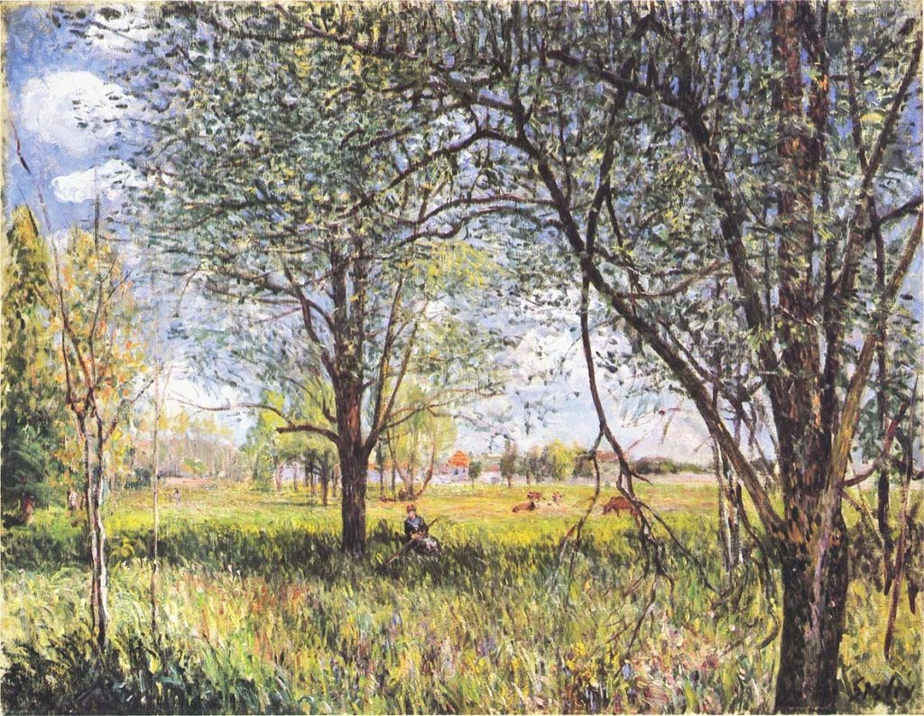 Alfred Sisley, 7IE-1882-170, La prairie, le matin. Now: 1881, CR429, Willows in a field, afternoon, 50x60, private