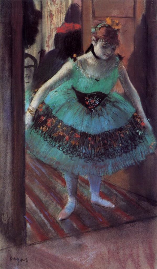 Degas, 1881, CR644, Dancer Leaving Her Dressing Room, pastel, 52x30, private (iR2). Rouart collection (R45).