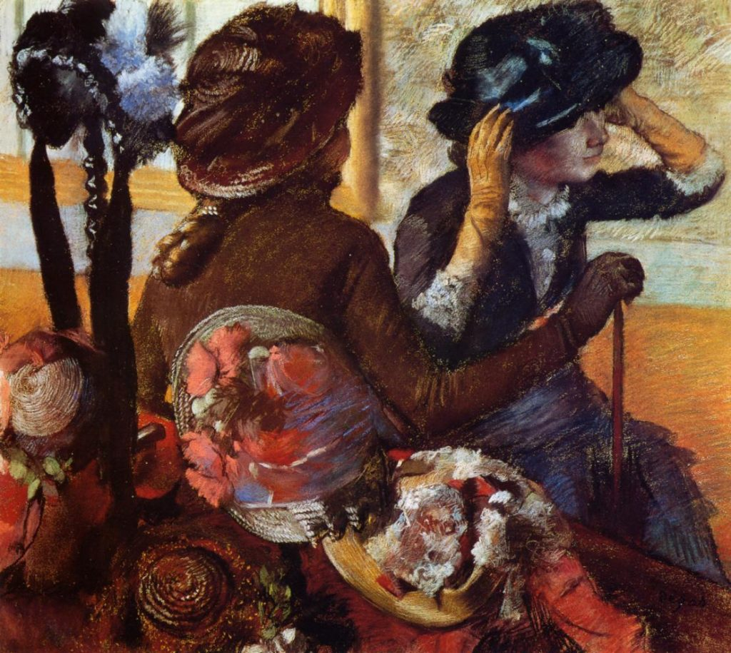 Degas, 1883, CR729, At the Milliner's, pastel, 76x85, MTB Madrid (iR2). Rouart collection (R45).