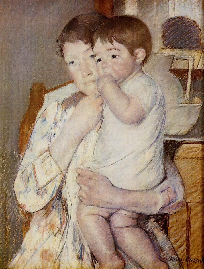 Mary Cassatt, 1889, Baby in His Mother's Arms, Sucking His Finger, pastel, xx, Louvre (iR2). Rouart collection (R45).