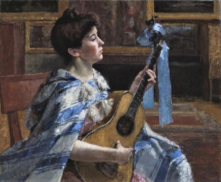 Henri Rouart, 1895-1912ca, (1885-90ca), Woman playing guitar, ?cm, ?? (aR20;aR27).