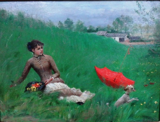 Henri Rouart, 18??, A girl with her petdog in a meadow (Enjoying the first days of spring), on panel, 25x35, A1999/02/09 + A2015/11/04 (aR19;aR13). Compare: 4IE-1879-223, Plaine de Brie, (dessin).