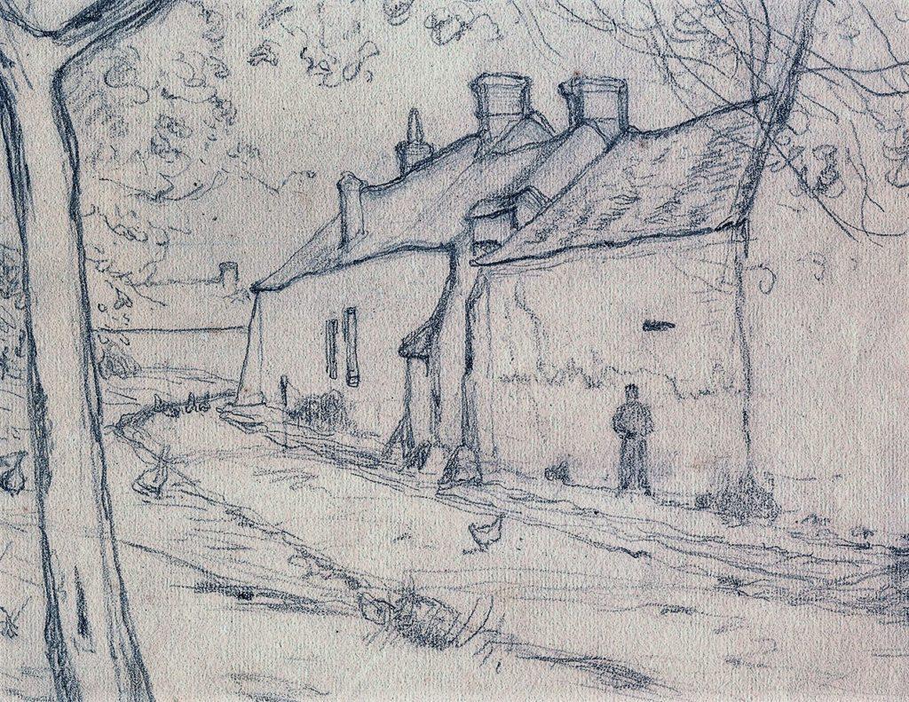 Henri Rouart, 18??, unknown (road, farm), dr, ?cm, xx (aR20). Maybe: 4IE-1879-222, Cour de ferme, (dessin). Compare: no.214-227, dessins.