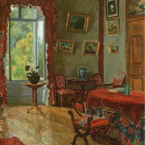 Henri Rouart, 18xx, Interior at La Queue-en-Brie, 56x46, private (aR20;aR21;R92,no25). Option for 8IE-1886-139, Intérieur.