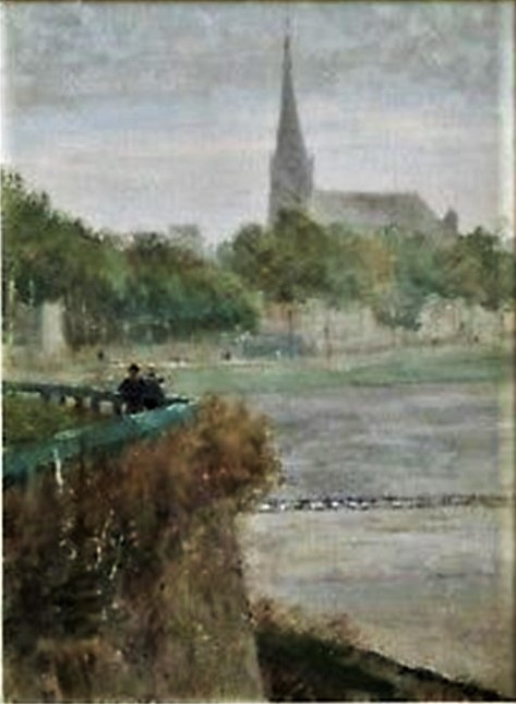 Henri Rouart, 1880ca, Sbr, Figures overlooking a river, 35×28, A2018/06/10 (aR26;aR20;iR42;iR253). Compare: 4IE-1879-221, Port de Melun, (dessin).