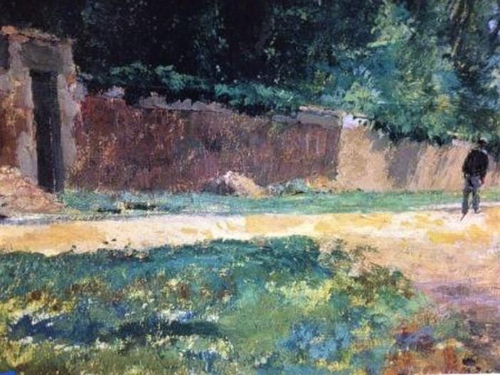 Henri Rouart, 1870ca (before 1897), Une allée à la Queue-en-Brie (detail), 60x73, MBA Pau (aR20;R92,no14;M170). Option for: S1870-2480, Rue de village.