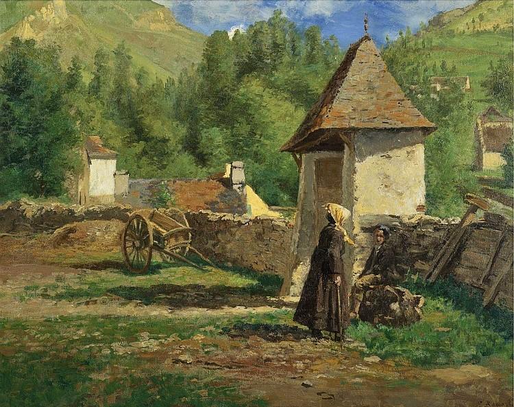 Henri Rouart, 1878ca, Sbr, à Gèdres, basses Pyrénnées (or: la halte des promeneurs près d'un mur; près du hameau), 73x92, A2011/03/16 (aR11;iR14;iR13;iR41). Maybe: 4IE-1879-205, À Gèdres, Basses-Pyrénées.
