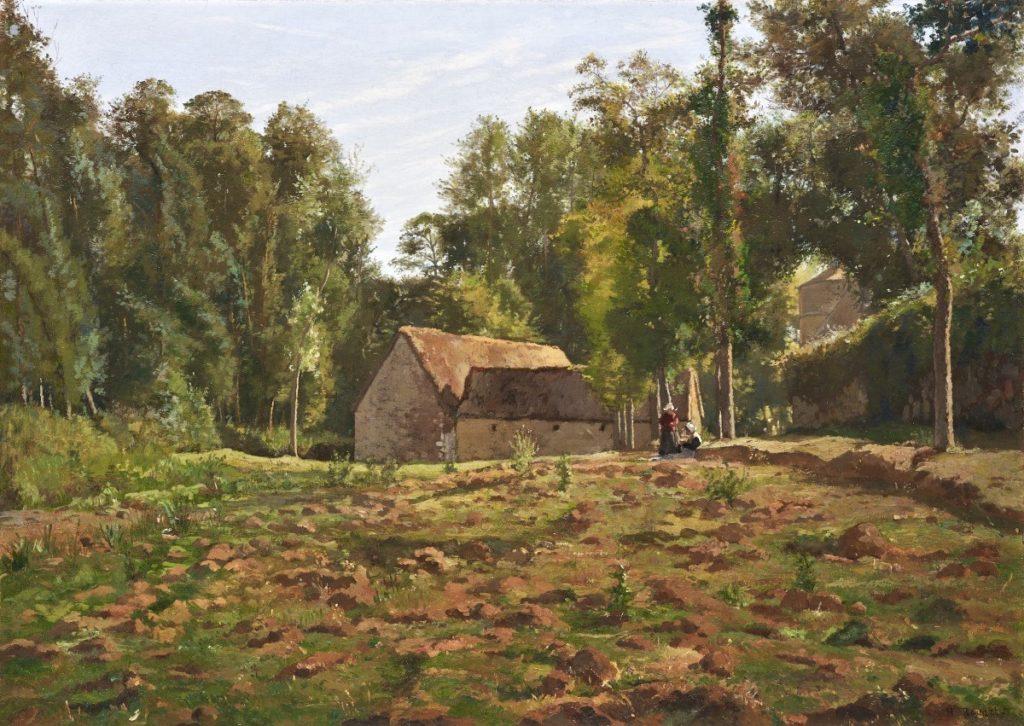 Henri Rouart, 1885ca, Sbr, Landscape with Farm, Brittany, 66x92, private Gallery London (iR13). Compare: 1IE-1874-148, Ferme bretonne; 2IE-1876-229, Vieille ferme bretonne (étude); 3IE-1877-207, Ferme Bretonne; S1869-2069, Chaumière au milieu des arbres, en Bretagne; 6IE-1881-129, Chaumières bretonnes.