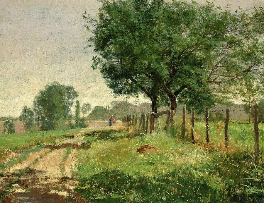 Henri Rouart, 18xx, Sbr, Paysanne dans les champs (peasant woman in the fields), 50x62, Marmottan (aR21;aR20;R92,no32;M2) Maybe: 2IE-1876-227, Chemin bordé d'Arbres (Normandie). Compare: 4IE-1879-210, Paysanne.