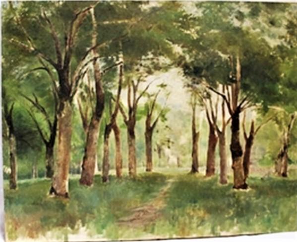 Henri Rouart, 18xx, S-, Allee arboree (Road with trees), 30x45, xx (aR17). Compare: 5IE-1880-183, étude + 8IE-1886-141, étude.