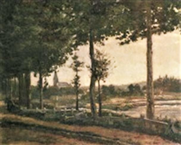Henri Rouart, 18xx, Bord de rivière à la campagne, 50x65, A2005/12/16 (aR13). Option for: S1868-2182, Bords de la Voïse. Compare: 2IE-1876-230, Bords de l'Indre + 3IE-1877-206, Bords de la Sédelle + 4IE-1879-209, Bords du Loir.