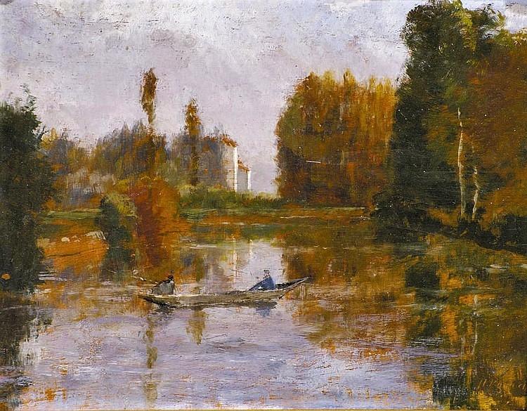 Henri Rouart, 18xx, Sbr~ HR~, Riverlandscape with fishermen in a boat, 22x27, A2009/03/28 (aR11;iR64;iR1). Option for: SdR1873-303: Souvenir de Bretagne (arrière automne). Compare: 1IE-1874-149, Levée d'étang.