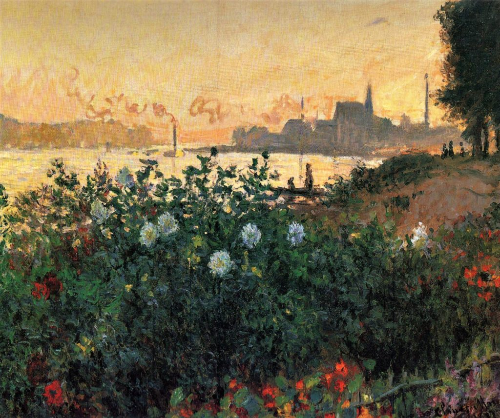 Claude Monet, 4IE-1879-166+hc, Foreground with Dahlias. Maybe: 1877, CR453, Argenteuil, Flowered Riverbank, 54x65, PMA Hakone (iR51;R22+R127,CR453;R90II,p137;R2,p269;M126)