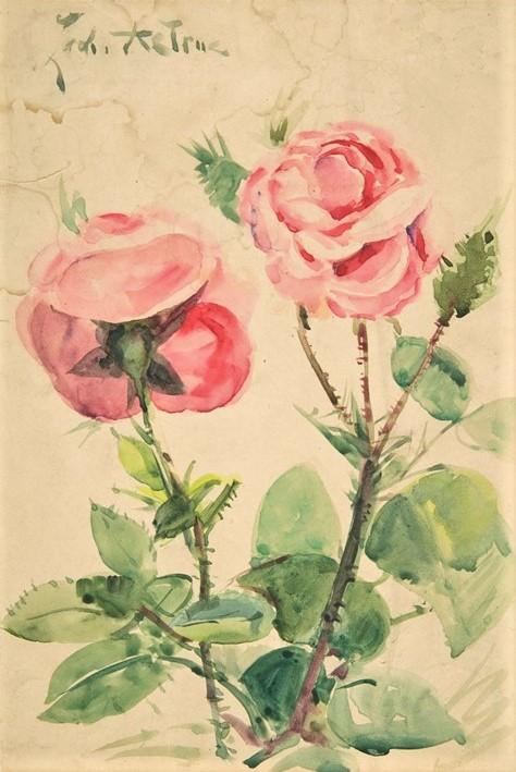 Zacharie Astruc, 1884-1904ca, Two Roses, wc, 18x12, Metropolitan (iR2)