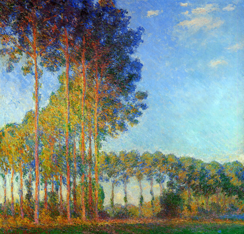 Monet, 1891, CR1312, poplars on the banks of the river Epte, seen from the marsh, 88x93, private