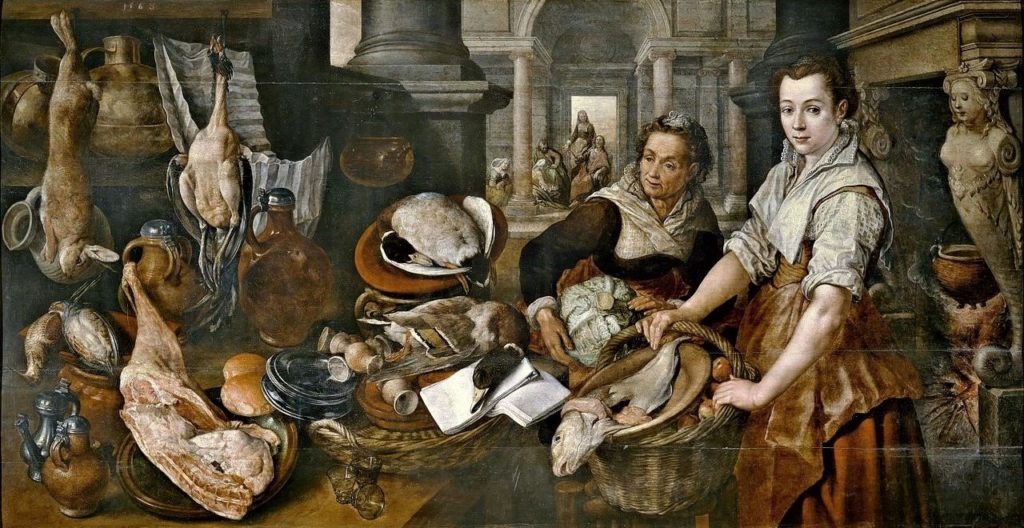 Beuckelaer, 1560, Christ in the House of Martha and Mary, 128x245, Prado Madrid (iR2). Rouart collection (R45).
