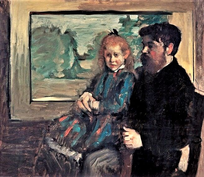 Edgar Degas, 1877(?), CR424, Henri Rouart and his daughter Hélène, 65x77, private (aR20). Note: Hélène was born in 1863; in this picture she looks much younger than 14.