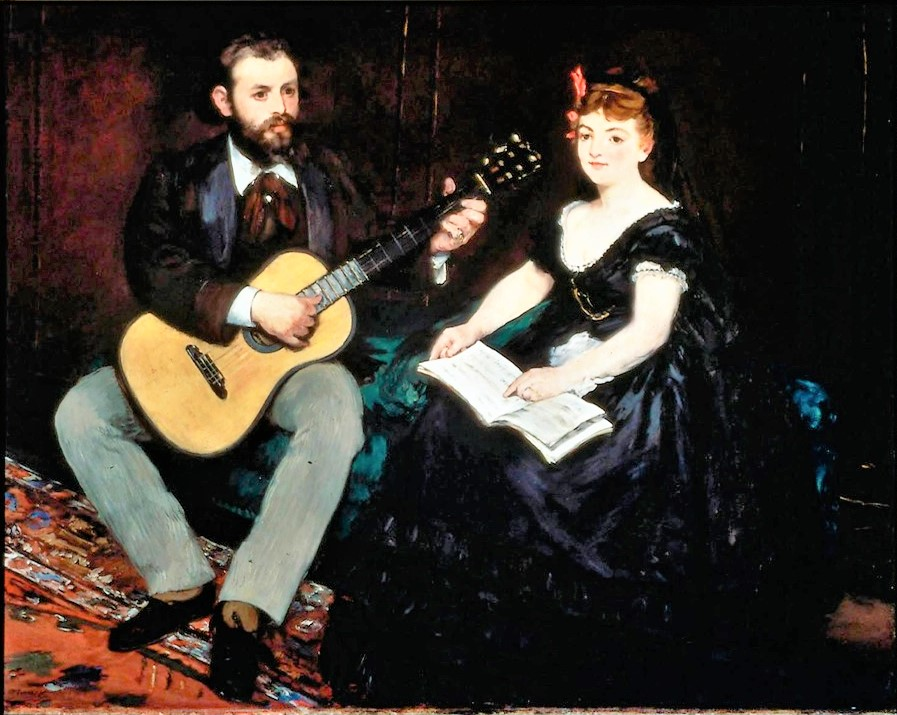 Manet, 1870, RW152, Music lesson (Astruc as guitarist), 141x173, MFA Boston (iR6;iR22;iR1;R88I,p18;R213,no110;R120=iR193,no152;M22,no69.1123) =S1870-1851, La leçon de musique.