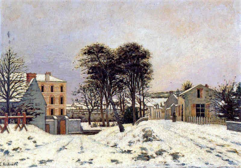 Edouard Béliard, 1878, Moulin de Chauffour, effect of snow, xx MdÉtampes (iR2;iR35). Compare: 2IE-1876-4 La rue de Chaufour à Étampes, effet de neige.