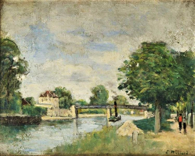 Edouard Béliard, 1860-76ca, Banks of the Oise, 33x41, private. (iR2), Maybe(??): 2IE-1876-1 Board d'Oise.
