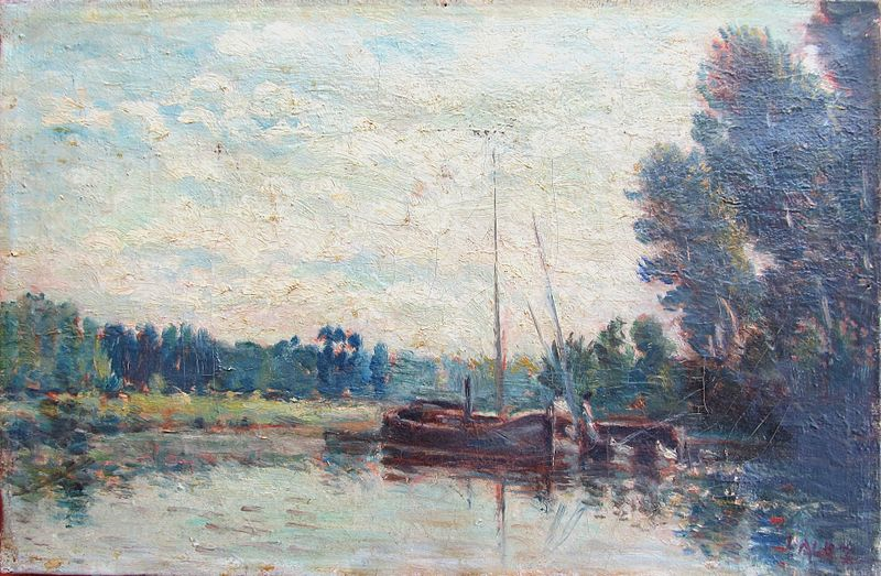 Alphonse Maureau, 1871, The Seine at Neuilly, 27x41, private (iR2;iR6). Compare Daubigny.