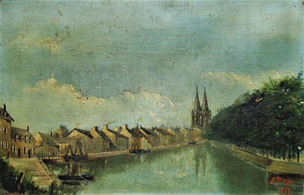 Alphonse Maureau, 1878, View of the Port of Quimper, 27x41, xx (iR6;iR10). Compare Boudin.