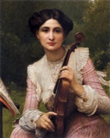 Léon-Paul-Joseph (Lépold) Robert, 18xx, (Signature bottom left), Jeune femme tenant un violon (young woman holding a violin), 74x60, A2003/06/18 (iR13;iR20;iR45)