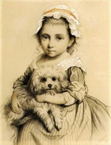 Léon-Paul-Joseph (Léopold) Robert: 18xx, (Signature bottom right), Girl with dog (Mädchen mit hund), drawing with watercolour, 26x21, A2005/03/16 (iR13; iR16; iR20)