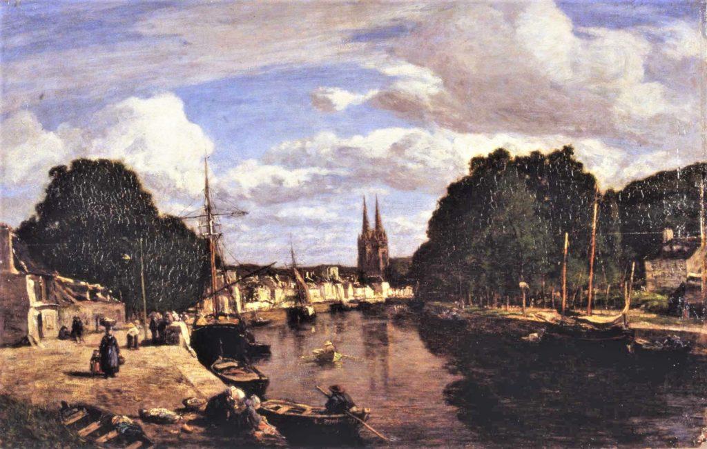 Boudin, 1857, Le port de Quimper, 27x35, ©MBA Quimper (iR6). Compare Maureau.