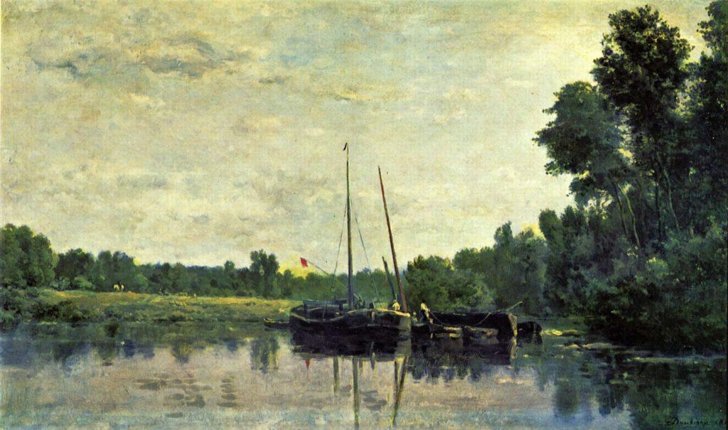 Daubigny, 1865, Les péniches (The barges), 36x67, Louvre (iR6; iRx). Compare Maureau.