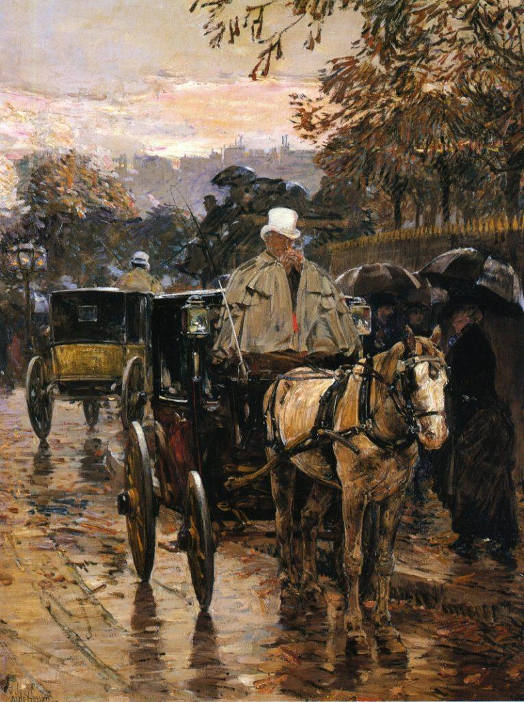 Hassam, 1888, Hackney Carriage, Rue Bonaparte (Fiacre, Rue Bonaparte), 104x77, private (iR2;iR10). Compare: Maureau, Pau1878-236, Station de fiacres sur le boulevard de Clichy.