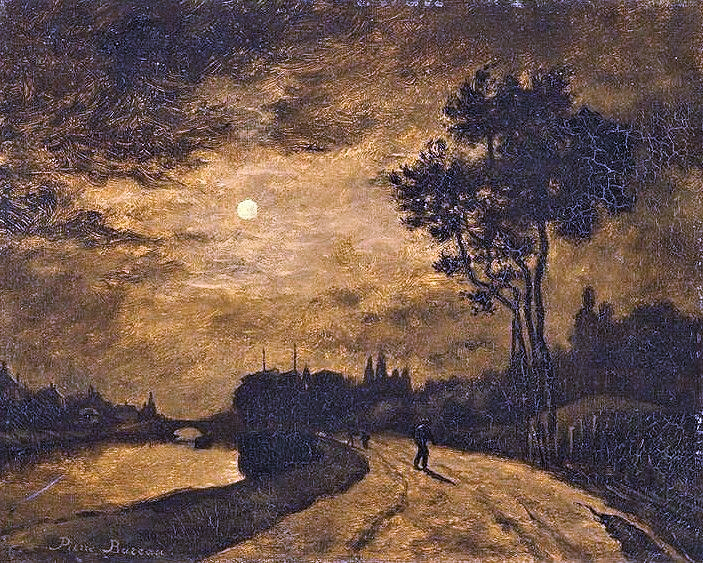Pierre-Isidore Bureau: 1867, Moonlight on the Banks of the Oise near L'Isle-Adam, 33 x 41, Orsay (MLS Isle-Adam) (iR20; aR1; R3,p55;R2,p120) =S1867-240, Clair de lune, sur les bords de l'Oise, à l'Isle-Adam. Perhaps: 1IE-1874-35, Bords de l'Oise, Isle-Adam, clair-de-lune.