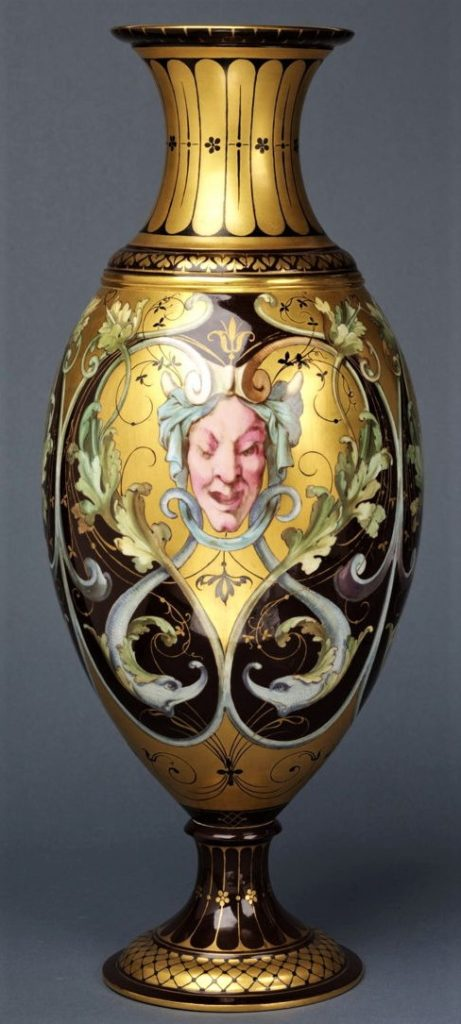 Alfred Meyer, 1866, Enamel painting with grotesques and foliate forms, gilded, enamel on percelain, Sèvres, xx, VAM London (iR35;iR10;M65)