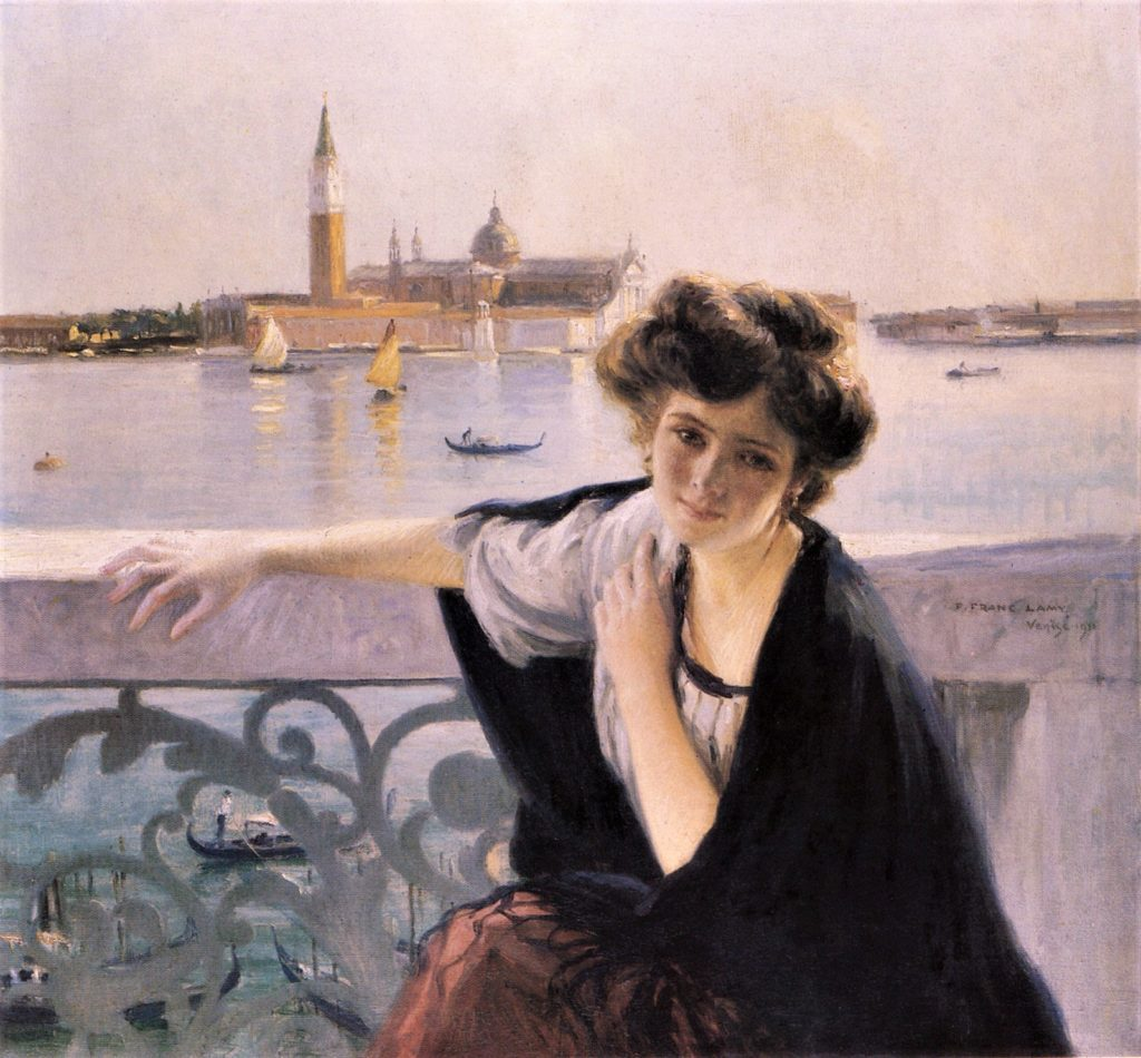 Franc Lamy, 1911, Venice (Young girl on a balcony overlooking San Giorgio Maggiore), xx, private (iR2;iR5;aR1). Maybe this work summarizes Franc-Lamy as an artist. Showing an elegant lady, rendering several details, but still using bright colours and rendering the sunlight. In the black shawl he uses (also) blues and purples.