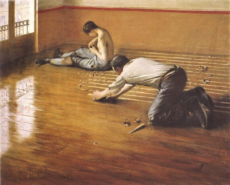 Gustave Caillebotte, 2IE-1876-18, Raboteurs de Parquets. Now: 1876, CR29, the floor-scrapers, 80x100, private Paris