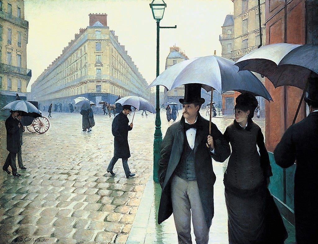 Gustave Caillebotte, 3IE-1877-1, Rue de Paris, temps de pluie. Now: 1877, CR52+57, Paris street, a rainy day, 212x276, AI Chicago (iR5;iR2;R2,p208;R101,no52;R102,no57+p282;R90II,p69+85).