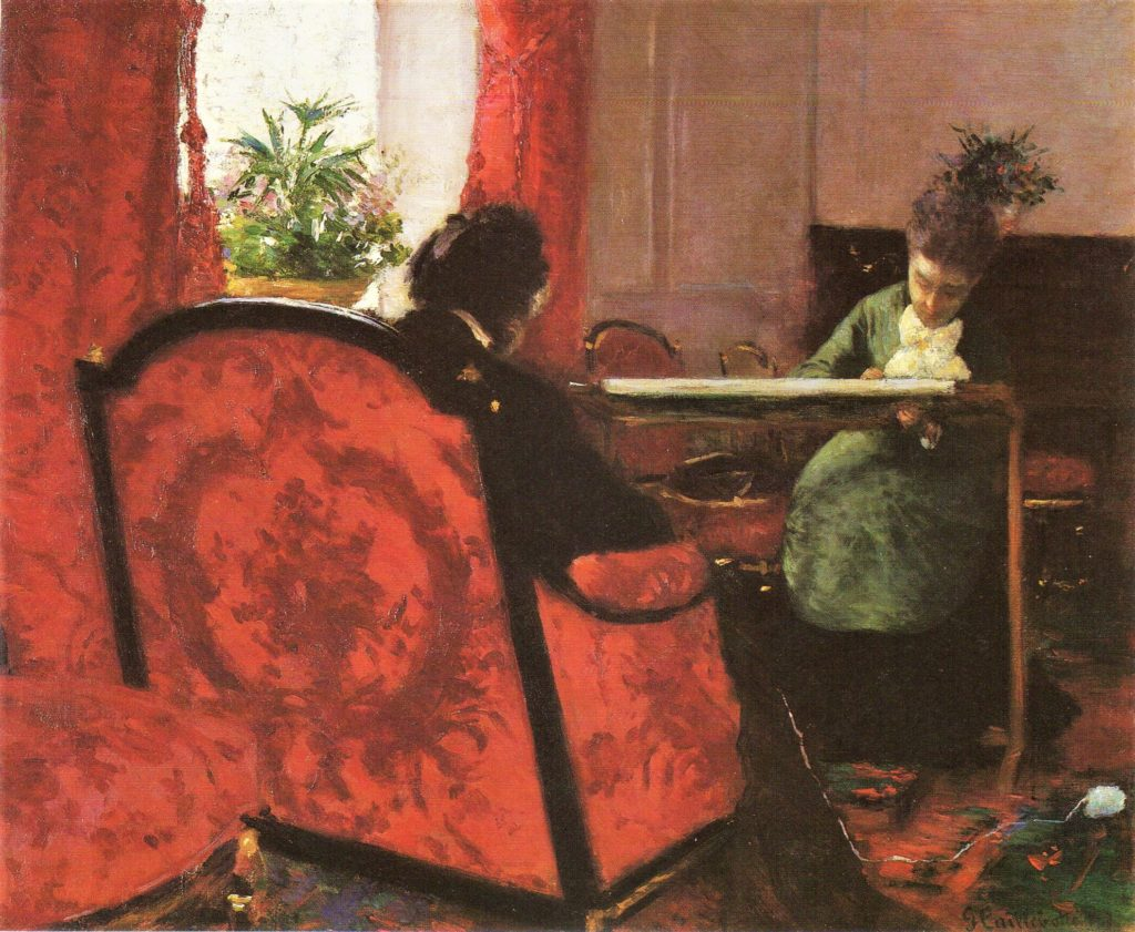 Gustave Caillebotte, 3IE-1877-5, Portraits. Now: 1877, CR, Portraits in an interior, 46x56, private NY (R2,p211;R101,no54;R102,no62+p282;R90II,p69+85).
