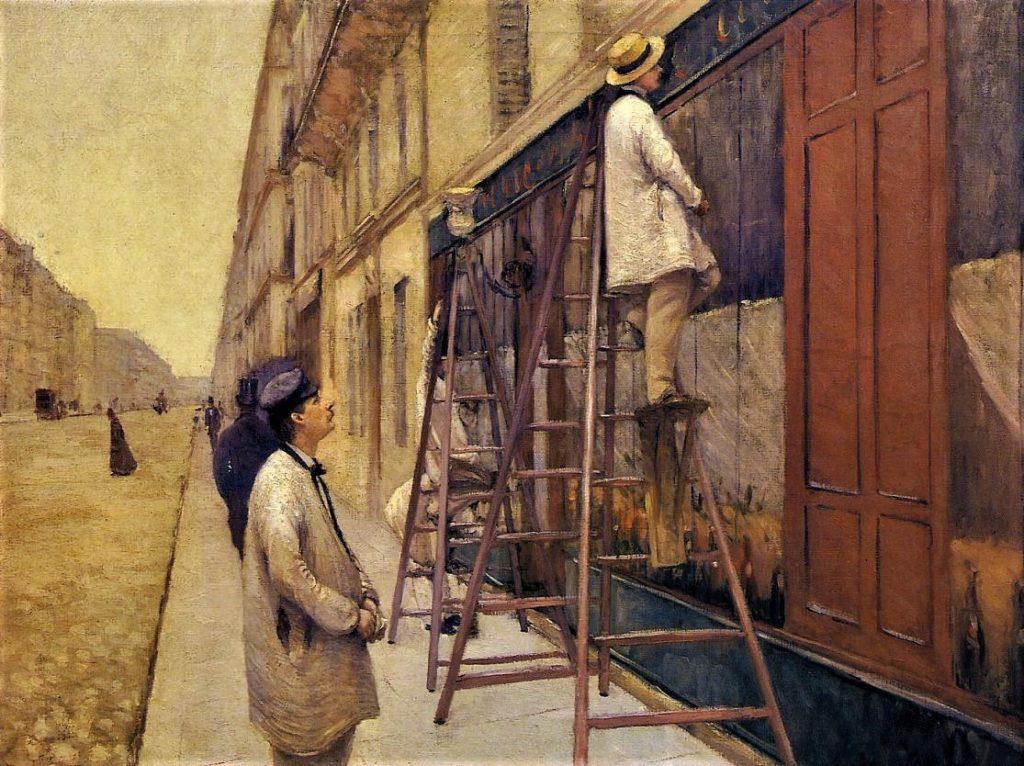 Gustave Caillebotte, 3IE-1877-6, Peintres en bâtiments. Now: 1877, CR48+53, The House Painters, 89x116, private Paris (iR2;R2,p203;R101,no48;R102,no53+p282;R90II,p69+85;R41,p93). =HD18770528; =DR1894-50; =SdA1921-2710