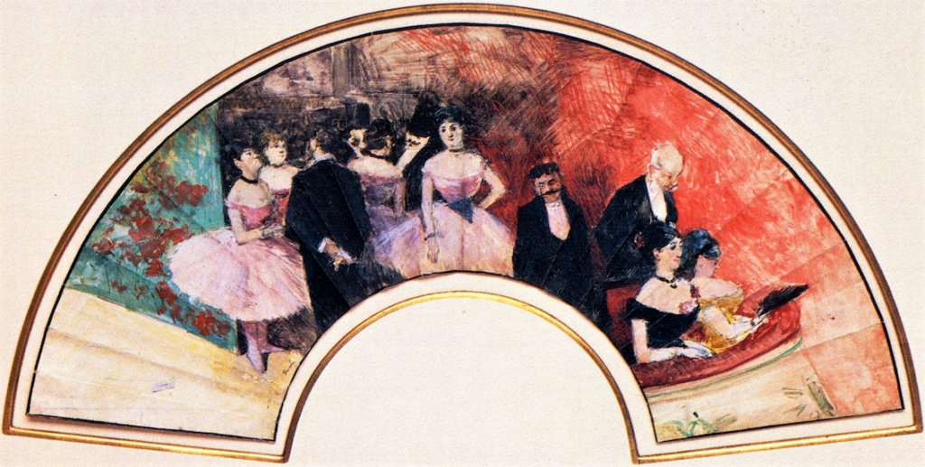 Forain, 4IE-1879-101 Un éventail. Uncertain: 1879ca, Evening at the Opera, gouache, 17x59, DGG Memphis