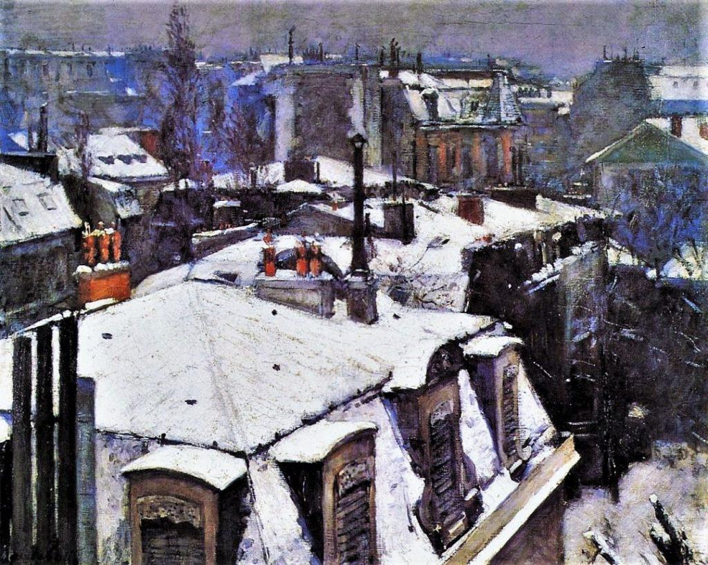 Gustave Caillebotte, 4IE-1879-12, Vue de toits (effet de neige). Now: 1878, CR107+96, view of rooftops (snow effect), 65x81, Orsay (iR2;R2,p273;R101,no107;R102,no96+p282;R90II,p106+123;M1,RF2730)