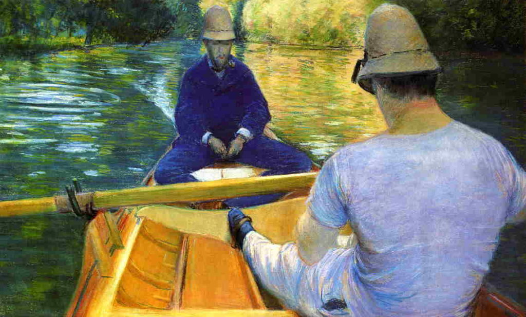 Gustave Caillebotte, 4IE-1879-27, Canotiers (pastel). Now: 1877, CR77+84, Boaters on the Yerres, pastel, 52x86, private Paris (iR2;R2,p267;R90II,p107+125;R101,no77;R102,no84+p283)